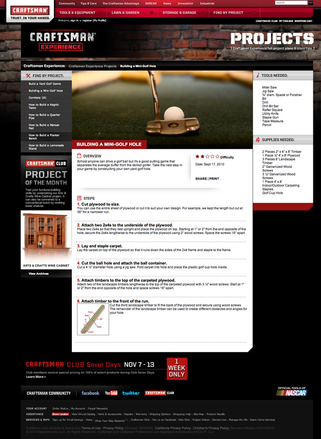 Craftsman Experience Project Page