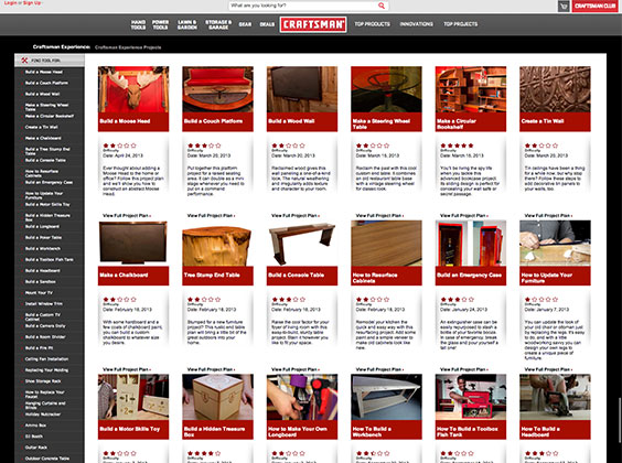 Craftsman Experience Projects Landing Page
