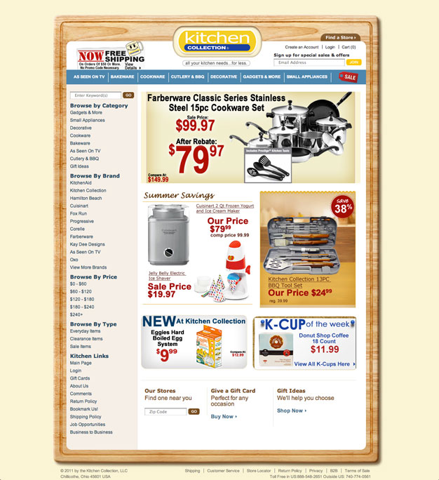 Kitchen Collection Site Redesign